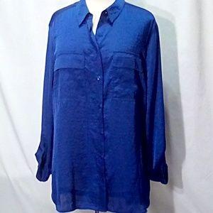 Jones of New York Size XL Royal Blue Tunic Blouse